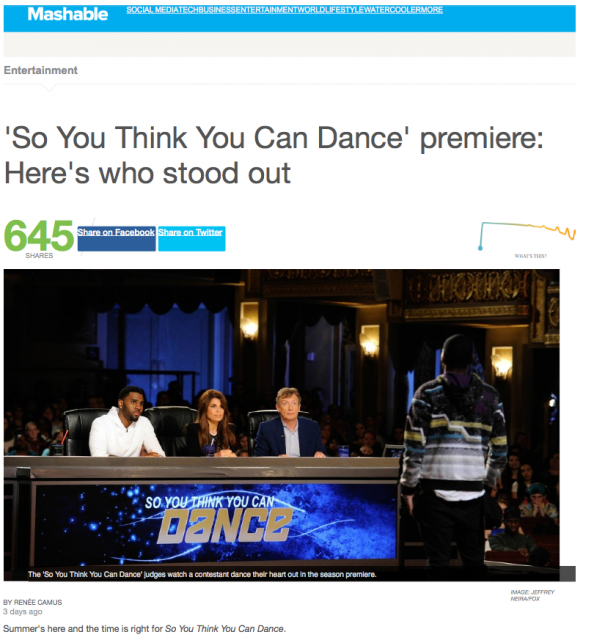 SYTYCD Recap on Mashable